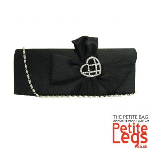Natalie Satin Diamonte Petite Clutch / Shoulder Evening / Prom Bag with Heart Feature Brooch Bow in Black